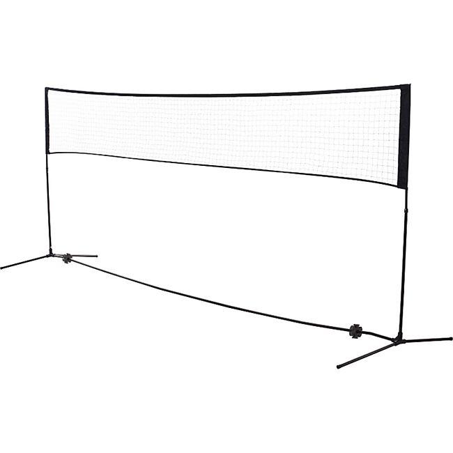 HOMCOM Badmintonnetz höhenverstellbar schwarz 400 x 103 cm x 94-158 cm (BxTxH) | Volleyball Tennisnetz tragbar Federball Pickleball - Bild 1