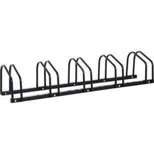 HOMCOM Aufstellständer bis zu 5 Fahrräder schwarz 130 x 33 x 27 cm (LxBxH) | Fahrradparkständer Radständer Fahrradständer - Bild 1