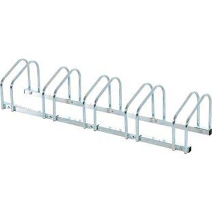 HOMCOM 5er Fahrradständer silber 130 x 33 x 27 cm (LxBxH) | Radständer Aufstellständer Fahrrad Ständer - Bild 1