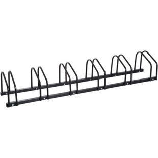 HOMCOM Aufstellständer bis zu 6 Fahrräder schwarz 160 x 33 x 27 cm (LxBxH) | Fahrradparkständer Radständer Fahrradständer - Bild 1