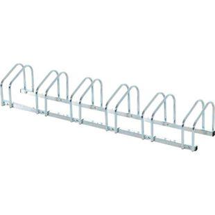 HOMCOM 6er Fahrradständer silber 160 x 33 x 27 cm (LxBxH) | Radständer Aufstellständer Fahrrad Ständer - Bild 1