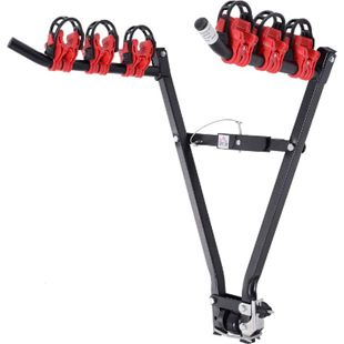 HOMCOM Anhängerkupplungsträger für 3 Fahrräder schwarz, rot 66 x 54 x 47 cm (LxBxH) | Fahrradheckträger Fahrradträger Heckträger in V-Form - Bild 1