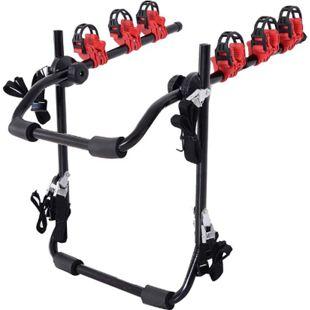 HOMCOM Fahrradheckträger für 3 Fahrräder schwarz, rot 68 x 52 x 60 cm (LxBxH) | Fahrradträger Heckträger faltbar mit Sicherheitsseile - Bild 1