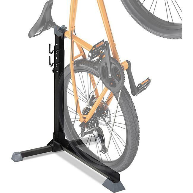 HOMCOM Fahrradständer mit 2 Haken schwarz 66 x 56 x (63-73,5) cm (LxBxH) | Universal Fahrradparker Montageständer Radständer - Bild 1