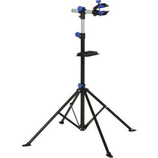 HOMCOM Fahrradmontageständer mit Werkzeugablage schwarz 144 x 144 x (117-170) cm (LxBxH) | Fahrradständer Fahrradreparaturständer Zentrierständer - Bild 1