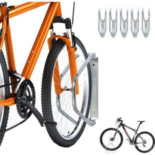 HOMCOM Fahrradständer zur Boden- und Wandmontage silber 32,5 x 8,2 x 29 cm (LxBxH) | Fahrradhalter Fahrradparker Fahrradabstellplatz - Bild 1