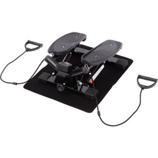 HOMCOM Sidestepper inklusive Trainingsbänder schwarz 45 x 42 x 21 cm (LxBxH) | Mini Stepper Stepptrainer Hometrainer Stepper - Bild 1