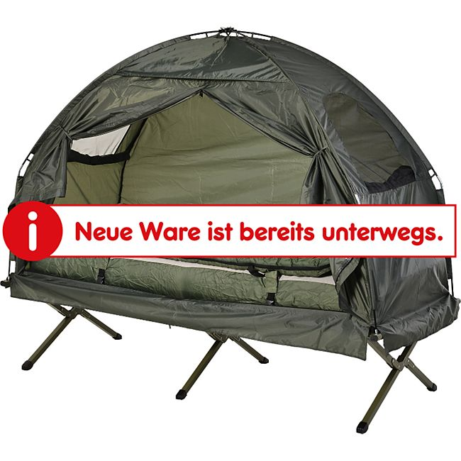 Outsunny Campingbett 4 in 1 Set dunkelgrün 193 x 78 x 118 cm | Feldbett 4in1 Camping Set Komplettset Zeltliege - Bild 1