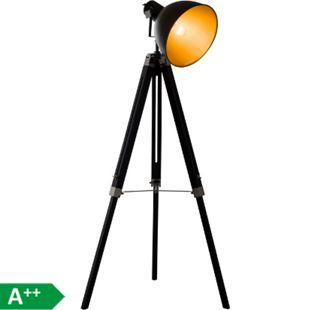HOMCOM Stehleuchte höhenverstellbar schwarz, gold 65 x 65 x (108-152) cm (LxBxH) | Stehlampe Standlampe Leseleuchte Lampenschirm - Bild 1