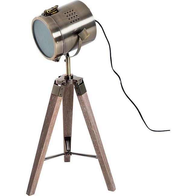 HOMCOM Tripod-Tischleuchte in Scheinwerfer-Form natur, bronze 33 x 33 x 65 cm (LxBxH) | Tischlampe Nachttischlampe Tripodlampe Retroleuchte - Bild 1