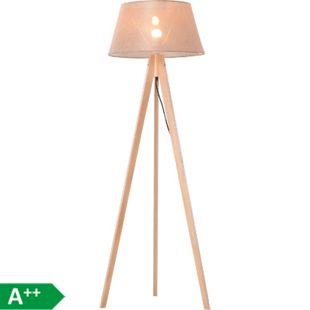 HOMCOM Tripod-Stehlampe natur, beige 52 x 52 x 146 cm (LxBxH) | Stehleuchte Leselampe Standleuchte Dreibeinlampe - Bild 1