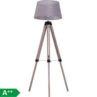 HOMCOM Tripod-Stehleuchte natur, grau 65 x 65 x (99–143) cm (LxBxH) | Stehlampe Leselampe Standleuchte Dreibeinlampe - Bild 1