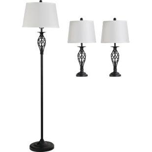 HOMCOM Stehlampe inkl. 2 Tischlampen schwarz, weiß | 3er-Lampenset Stehleuchte Nachttischlampe Leselampe - Bild 1