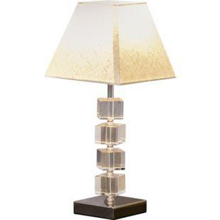 HOMCOM Tischlampe mit Kristallsockel cremeweiß 20 x 20 x 47 cm (BxTxH) | Tischleute Nachttischlampe Lampe Kristall - Bild 1