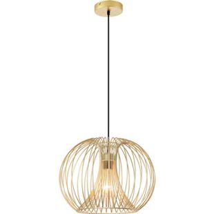 HOMCOM Pendelleuchte mit goldenem gebogenem Stahlrahmen gold 37 x 150 cm (ØxH) | Deckenlampe Hängeleuchte Hängelampe Deckenleuchte - Bild 1