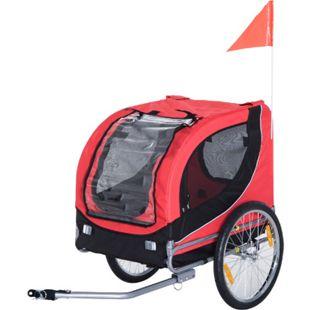 PawHut Fahrradanhänger für Hunde rot, schwarz ca. 78 x 73 x 94 cm (LxBxH) | Hundeanhänger Hund Anhänger Lastenanhänger - Bild 1