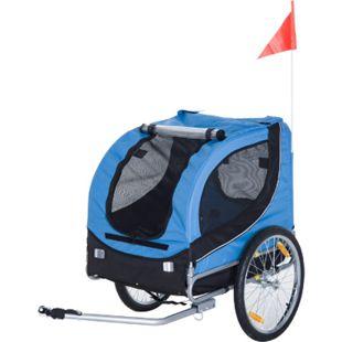 PawHut Hundeanhänger mit Sicherheitswimpel blau, schwarz 130 x 90 x 110 cm (LxBxH) | Fahrradanhänger Hund Anhänger Lastenanhänger - Bild 1