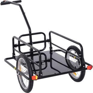 HOMCOM Transportanhänger/-wagen schwarz 156 x 72 x 82 cm (LxBxH) | Lastenanhänger Fahrradanhänger Handwagen Anhänger - Bild 1