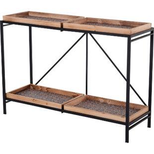 HOMCOM Konsolentisch mit 4 Holztabletts schwarz, natur 120 x 40 x 84 cm (BxTxH) | Flurkommode Beistelltisch Wohmzimmertisch Tisch - Bild 1