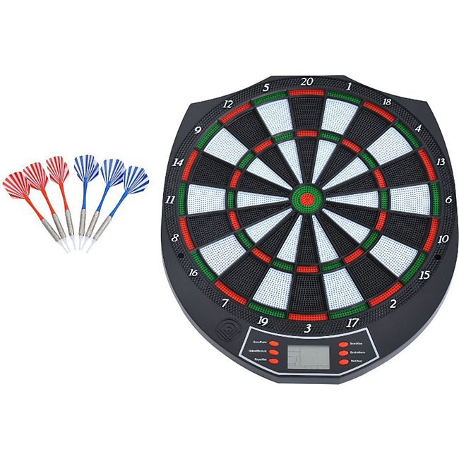 HOMCOM Elektronische Dartscheibe inklusive 6 Pfeile schwarz, weiß, grün, rot 37,8 x 2 x 43,1 cm (BxTxH) | Dartboard Dartscheibe Dartpfeile Spiel Board - Bild 1