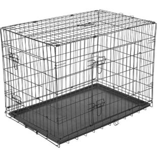 PawHut Transportkäfig für Kleintiere schwarz 76 x 53 x 57 cm (LxBxH)   Hundebox Hundekäfig Hunde Transportbox Reisebox - Bild 1
