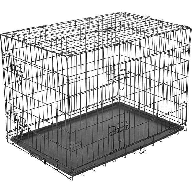 PawHut Transportkäfig für Kleintiere schwarz 76 x 53 x 57 cm (LxBxH) | Hundebox Hundekäfig Hunde Transportbox Reisebox - Bild 1