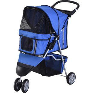 PawHut Hundebuggy mit Netzgitter blau 99 x 45 x 86 cm (LxBxH) | Hundewagen Hunde Stroller Pet 3 Rollen Buggy - Bild 1