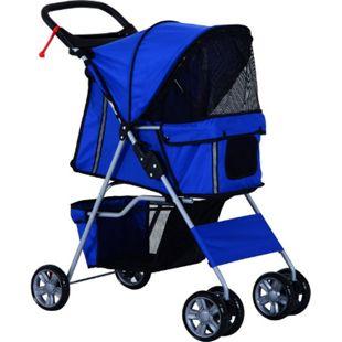 PawHut Hundebuggy mit Gitternetz blau 75 x 45 x 97 cm (LxBxH) | Hundewagen Hunde Stroller Pet-Stroller Buggy - Bild 1