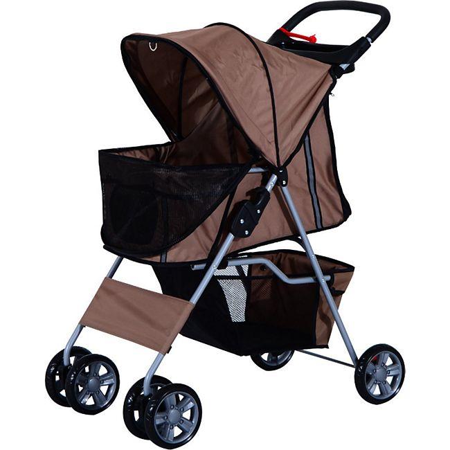 PawHut Pet Stroller mit Gitternetz kaffeebraun 75 x 45 x 97 cm (LxBxH) | Hundewagen Hunde Stroller Hundebuggy Buggy - Bild 1