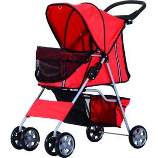 PawHut Hunde Stroller mit Gitternetz rot 75 x 45 x 97 cm (LxBxH) | Hundebuggy Hundewagen Pet-Stroller Buggy - Bild 1