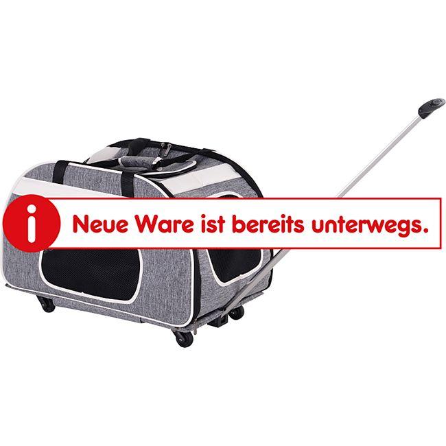 PawHut Haustiertrolley mit Teleskopgriff grau 65 x 37 x 37/46 cm (LxBxH ohne Räder/mit Rädern) | Reisetasche Hundetasche Transporttasche für Hunde - Bild 1