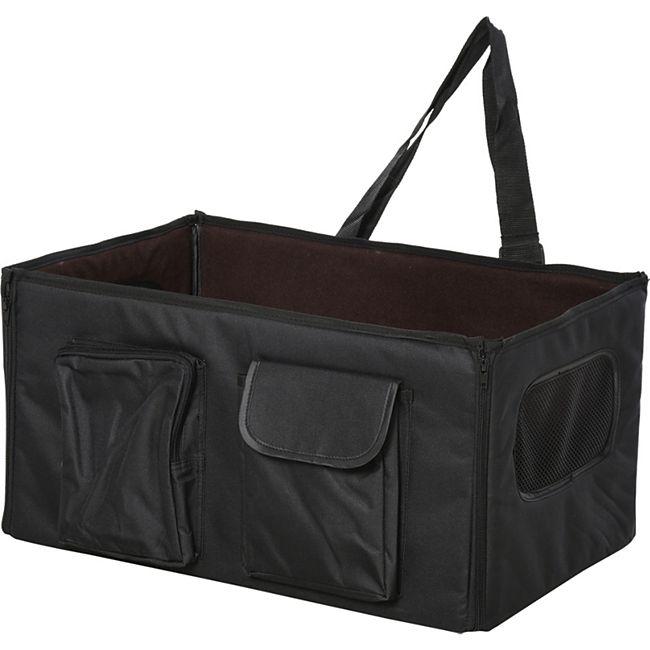 PawHut Hundetransportbox fürs Auto schwarz 52 x 34 x 28 cm (LxBxH) | Hundetasche Hundebox faltbare Hundebox Reisebox - Bild 1