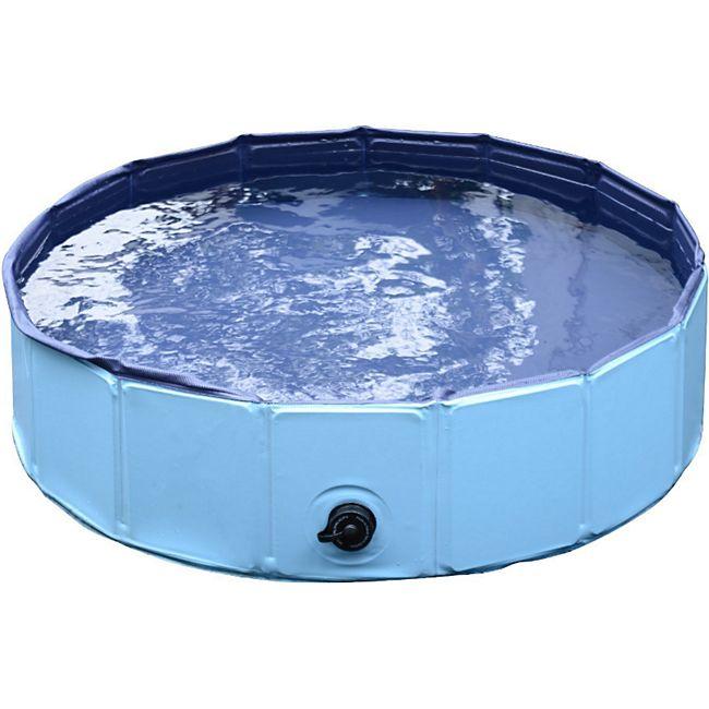 PawHut Hundebadewanne mit Wasserablassventil blau 80 x 20 cm (ØxH)   Hundepool Badewanne Swimmingpool Wasserbecken - Bild 1