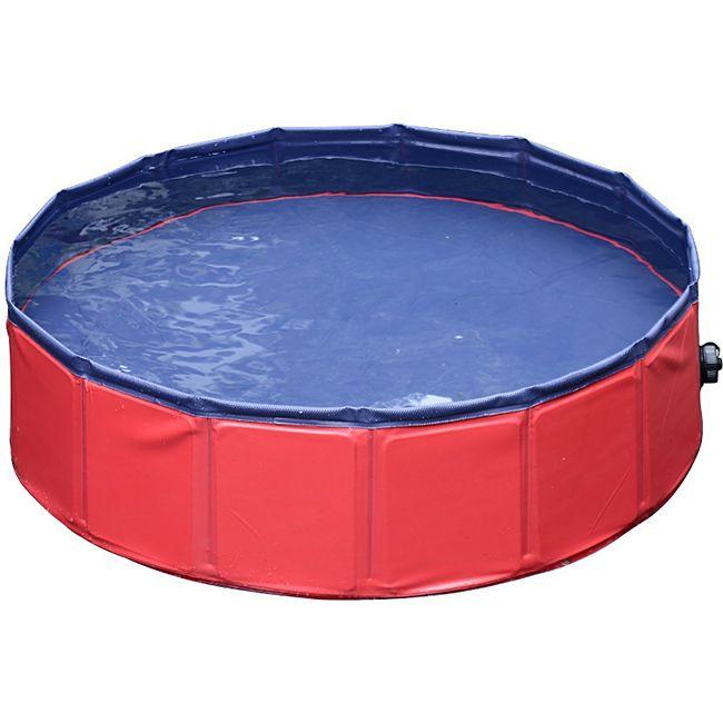 PawHut Hunde Swimmingpool mit Wasserablassventil rot, blau 160 x 30 cm (ØxH) | Hundebadewanne Badewanne Hundepool Wasserbecken - Bild 1
