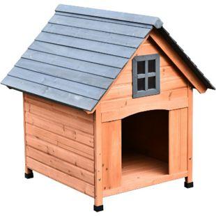PawHut Hundehütte im Kabinenstil natur 81,3 x 91,5 x 98,5 cm (LxBxH) | Hundehaus Hundehöhle Hütte für Hunde Hundeholzhütte - Bild 1