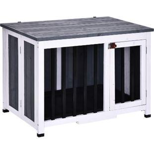 PawHut Faltbarer Hundekäfig grau, weiß 84,5 x 51,4 x 61 cm (LxBxH) | Hundehütte Hundehaus mit Fenster Hunde Holzhütte - Bild 1