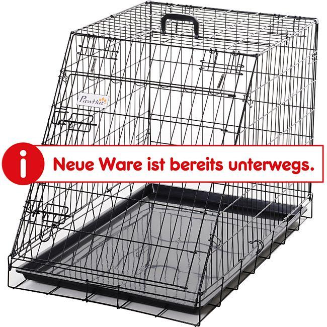 PawHut Faltbarer Welpenkäfig schwarz 93 x 58 x 65 cm (LxBxH)   Hundebox Hundekäfig Transportbox Transportkäfig - Bild 1