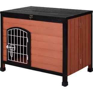 PawHut Hundehhütte mit Drahttür braun 78 x 51 x 65 cm (LxBxH) | Hundehaus Hundehöhle Hütte für Hunde Hundeholzhütte - Bild 1