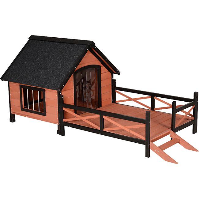 PawHut Hundehhütte mit Terrasse braun 194,5 x 91 x 83 cm (LxBxH) | Hundehaus Hundehöhle Hütte für Hunde Hundeholzhütte - Bild 1