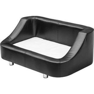 PawHut Luxus Hundebett mit Kunstlederbezug schwarz, weiß 67 x 52 x 40 cm (LxBxH) | Hundebett Hundesofa Katzensofa Kunstleder Bett - Bild 1