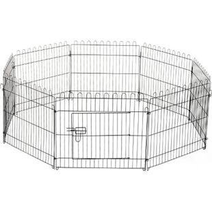 PawHut Freilaufgehege für Hasen, Kaninchen und Hundewelpen schwarz | Welpenauslauf Gehege Welpenzaun Laufstall - Bild 1