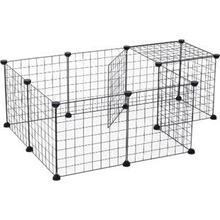 PawHut Freigehege mit Metallgitter schwarz 106 x 73 x 36 cm (LxBxH) | Laufgehege Laufstall Kleintierkäfig Auslaufgehege - Bild 1
