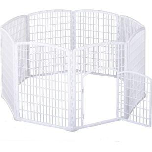 PawHut Freilaufgehege für Haustiere weiß 180 x 95 cm (ØxH) | Welpenzaun Welpenauslauf Laufstall Welpengitter - Bild 1