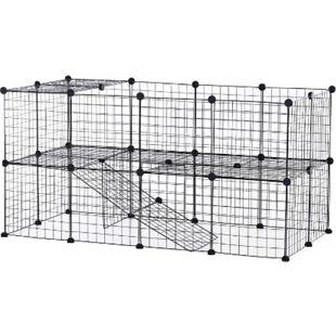 PawHut Laufgitter für kleine Haustiere schwarz 146 x 73 x 73 cm (LxBxH) | Gittergehege Laufstall Kleintier-Gehege Freigehege - Bild 1