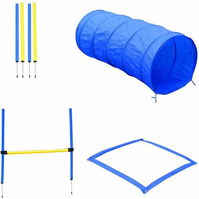 PawHut Hund Agility Set inkl. Tragetasche gelb, blau | Hundetraining Hundesport Übungsset Hürdenlauf - Bild 1