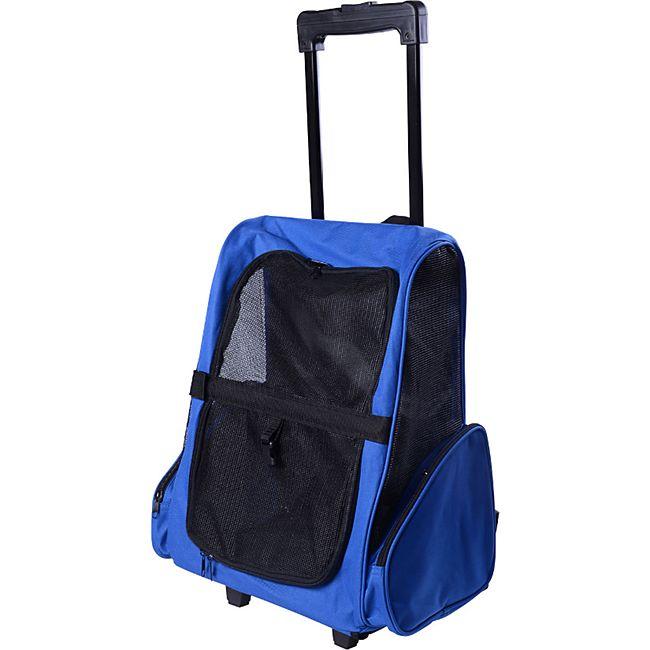 PawHut 2 in 1 Hundetasche als Trolley oder Rucksack verwendbar blau 36 x 30 x 49 cm (LxBxH) | Tragetasche Transporttasche Rucksack Trolley - Bild 1