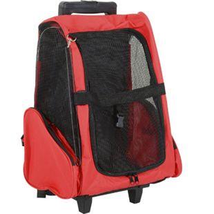 PawHut 2 in 1 Hundetasche als Trolley oder Rucksack verwendbar rot-schwarz 35 x 27 x 49 cm (LxBxH) | Tragetasche Hunde Trolley Rucksack Trolley Box - Bild 1