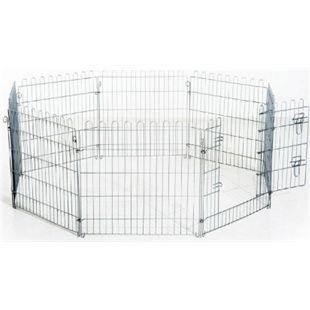 PawHut Welpenzaun als 8-teiliges Set silber | Welpenauslauf Freilaufgehege Stall Welpengitter - Bild 1