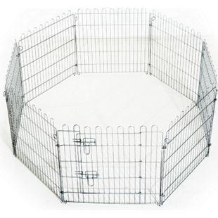 PawHut Welpenauslauf als 8-teiliges Set silber | Welpenzaun Freilaufgehege Laufstall Welpengitter - Bild 1