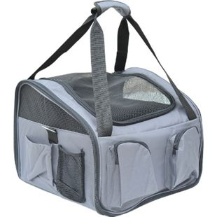 PawHut Hundebox fürs Auto faltbar grau 41 x 34 x 30 cm (LxBxH) | Hundetasche Transportbox Tragetasche Autositz - Bild 1